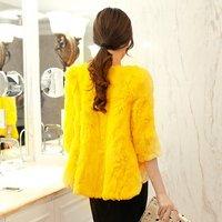 Sukracarya 2013 o-neck rabbit fur overcoat outerwear free shipping