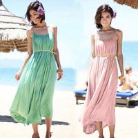 Solid color beach dress slim waist suspender skirt full dress summer one-piece dress female