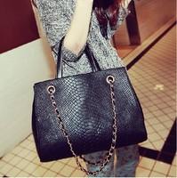 2014 women's casual bag crocodile pattern chain bag one shoulder cross-body handbag