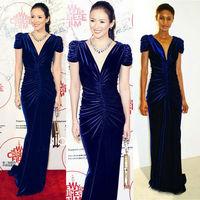 2013 Newest Free Shipping Stunning Velvet V-neck Floor-Length Black Evening/Formal Gown Dresses JH470