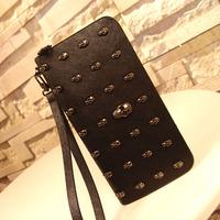 Bags female wallet 2013 female fashion purses female rivet embossed skull wallet female long design