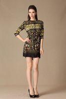 European Fashion High-grade Casual Abstract Women Print Dresses