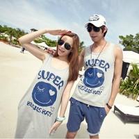 Free shipping for women Beach dress 2013 lovers summer t-shirt female skirt honey smiley skirt set