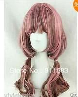The Harajuku big curly wig pink the color mixed Cosplay wig wavy