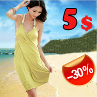 10 2013 deep V-neck sunscreen sexy skirt multi-purpose beach dress spaghetti strap one-piece big sale