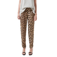 Free shipping Fashion CHIC LEOPARD PRINT CASUAL DRAWSTRING PANT TROUSERS