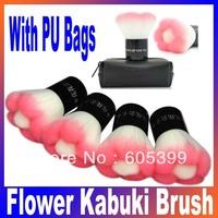 New Pink Color Flower Kabuki Brush, Blush Brush, Powder Brush with PU bags fashion makeup brush cosmetic tool Free Shipping