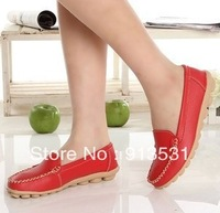 free shipping new arrival genuine leather cow muscle soft bottom casual flat leather shoes