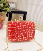 2013 New come stone pattern day chain lady clutch bag messenger bag evening bag women's cute hard handbag 7colors Freeshipping