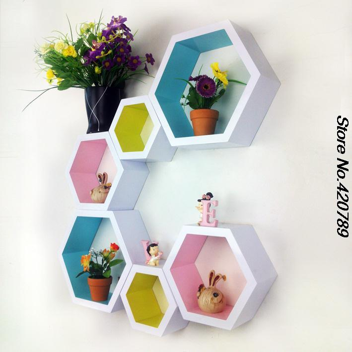 shelf storage Picture - More Detailed Picture about Fashion wall hangings Paint hexagonal box ...