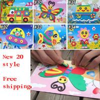 60pcs Animal 3D Puzzles EVA Handmade Magical DIY Children Hand Art Sticker Handicrafts Game Kids Baby Toys Christmas Gift
