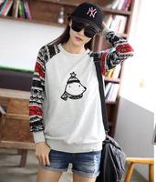 Free shipping clothes women 2014 autumn winter new fashion korean pullover sweater stitching shirt,street stytle jackets women