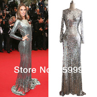Free Shipping 2013 Full-Length Stunning Silver Sequins Embellished Women's Prom Ball Gown Evening Formal Dress JH471
