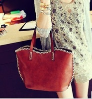 2013 fashion vintage casual one shoulder handbag women's handbag bag sewing thread free shipping