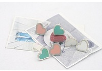 Han edition silver edge sweet candy color heart-shaped earrings earrings Min.order is $15 (mix order)