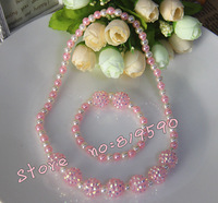 Free shipping / NEW fashion pearl+Resin necklace&Bracelet set//necklace & Bracelet Set /baby Children Jewelry Set