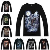 2014 New Three-D Fashion Men All Kinds Of Skull T Shirt Long Sleeve Big Size Autumn
