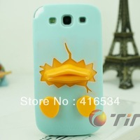 New arrival mint color cute duck 3D tpu cover case for samsung galaxy s4 i9500 free shipping with retail packaging