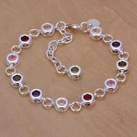Hot!wholesale for women/men's 925 silver bracelet 925 silver fashion jewelry charm bracelet colorful rhinestone Bracelet SB259