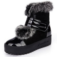 plus2013 winter fashion genuine leather cowhide platform boots rabbit fur snow boots women tassel flat shoes free shipping D1037