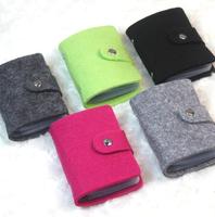 Free shipping,Min order 15$ (Mixed order) New Fashion Solid Wool Felt 24 pc Credit Card Holder Hasp Membership Card Bus Bag Case