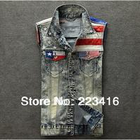 men jean vest us flag snow spots denim vest  motorcycle jeans jacket sleevess for men