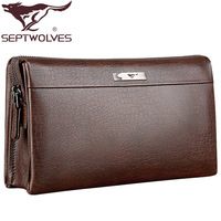 Free Shipping! 2013 SEPTWOLVES male clutch male genuine leather man bag commercial cowhide day clutch bag clutch wallets