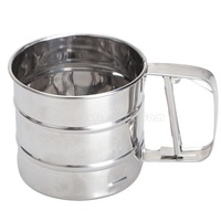 Mesh Flour Bolt Sifter Manual Sugar Icing Shaker Stainless Steel Cup Shape  NI5L