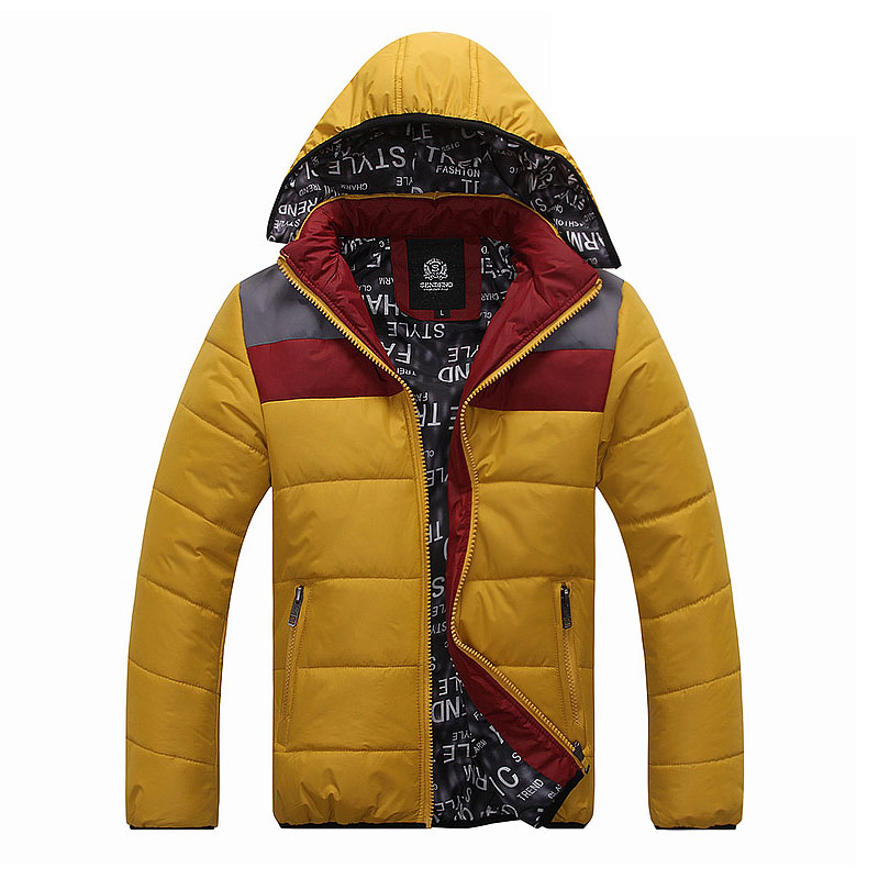 Winter men's clothing teenage casual thermal cotton-padded jacket male fashion color block(China (Mainland))