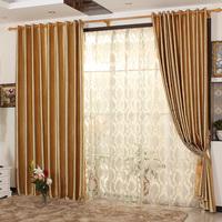 Window curtain golden peony embossed curtain
