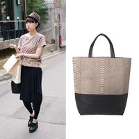 Brand fashion vintage serpentine pattern leopard print patchwork women handbag shoulder bag picture package bag cosmetic bag