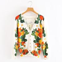 Laser autumn fruit print cardigan sunscreen long-sleeve shirt slim sweater