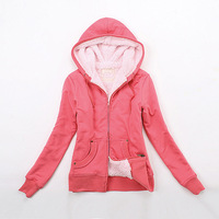 2013 clothing fleece hooded sweatshirt outerwear women's winter red slim thickening of winter clothes grey