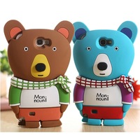 3D cartoon cute Winter Bear silicone soft mobile phone case back cover for for Samsung Galaxy Note II 2 N7100 7100 Note2