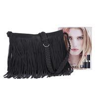 1pc Women's Fashion Tassel Macrame Hobo Clutch Purse Suede Fringe Shoulder Messenger Handbag Cross Body Bag Free Shipping