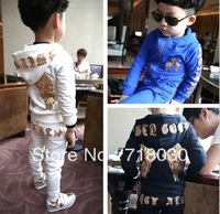 2013 children's clothing kids sports suits boys girls child loop pile cotton set kid casual set bling wings behind clothes