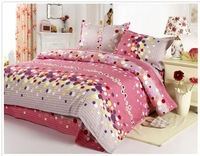 FEDEX Free Shipping 2013 new 100% cotton Pink Drunken World Soft printing bedding 4PCS Set