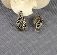 Wholesale DIY Vintage Style Antique Bronze Tone Alloy Fancy Hollow Flower Pattern Waterdrop Shaped Pendant Charms 24*12mm 20pcs
