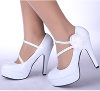 2014 bridal shoes japanned leather , bling , luxury wedding shoes white high-heeled shoes ,