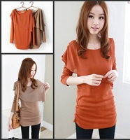 2013 NEW FASHION Chiffon cotton  long-sleeved T-shirt,Sweet hypotenuse chiffon side wrinkles shirt