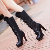 2012 women's winter shoes fashion genuine leather platform rabbit fur thick heel knee-high cotton boots high-heeled martin boots