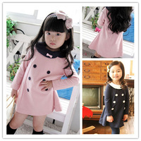 Free shipping Autumn 5pcs/lot baby girls princess dress children long sleeve double breasted dress kids clothing wholesale