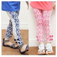 New!2013 girls printed lace leggings,5pcs/lot