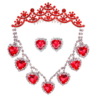 Red white heart bride piece set necklace earrings wedding dress formal dress chain sets