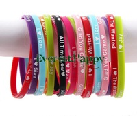 40pcs lot UK Music Super Star I Love The wanted 5mm Silicone Bracelet Wristband Jewelry Hot Gift free shipping