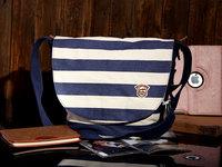 Navy blue and white stripe canvas bag wind bag women's shoulder inclined shoulder bag, Japanese male leisure package Recreation