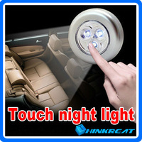 3 LED Battery Powered Touch Light Emergency Outdoor Touching Car Lamp Sticky Touch Night Lamp Wall Light Free Shipping