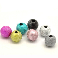 Whosale Free Shipping 500 Pcs Mixed Multicolor Stardust Acrylic Spacer Beads 8mm
