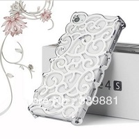 Fashion Plating Artistic Palace Flower Cover PC flower hard hollow case for Iphone 4 4s,free shipping+Screen Protectors 5pcs/lot