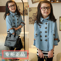 2013 autumn clothing female child 100% denim cotton double breasted cloak batwing shirt cloak cape outerwear